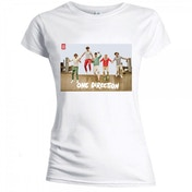 One Direction Band Jump Skinny White Ladies T-Shirt X Large