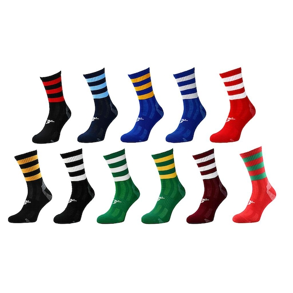 Precision Pro Hooped GAA Mid Socks Red/Green - UK Size 7-11