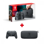 Nintendo Switch Console with Grey Joy-Con Controllers + Pro Controller + Official Accessory Set