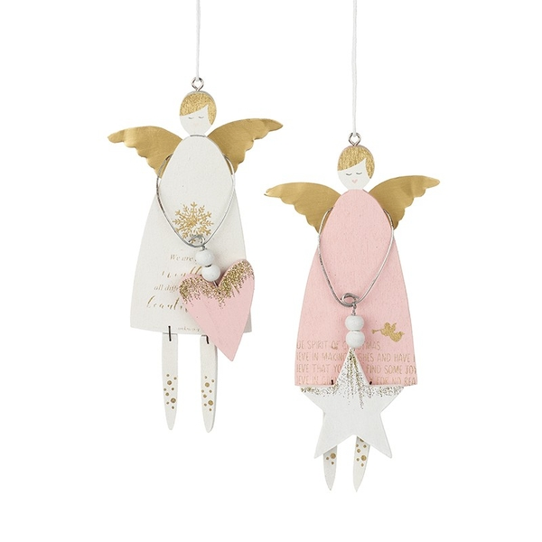 Hanging Wooden Angel Decoration by Heaven Sends (Set of 2)