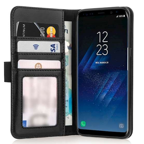 Caseflex Samsung Galaxy S8 Real Leather ID Wallet Case - Black - Image 2