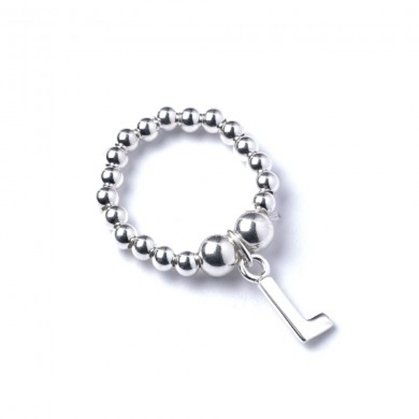 Initial L Charm with Sterling Silver Ball Bead Ring