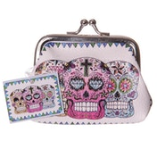 Candy Skull Day of the Dead Fun Mini Coin Purse