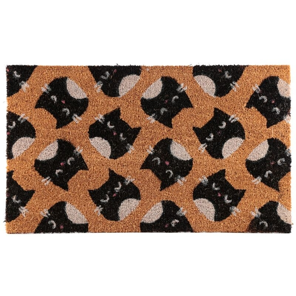 Feline Fine Cat Design Coir Door Mat