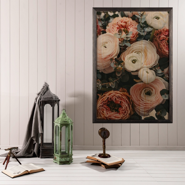 Roses Multicolor Decorative Framed Wooden Painting