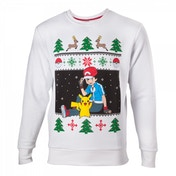 Pokemon Men's Ash & Pikachu Large Christmas Jumper