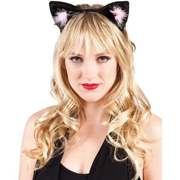 Black and Pink Cat Ears Fancy Dress Accessory
