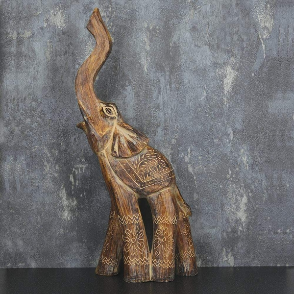 Large Elephant Ornament with its trunk up Brown 44.5cm