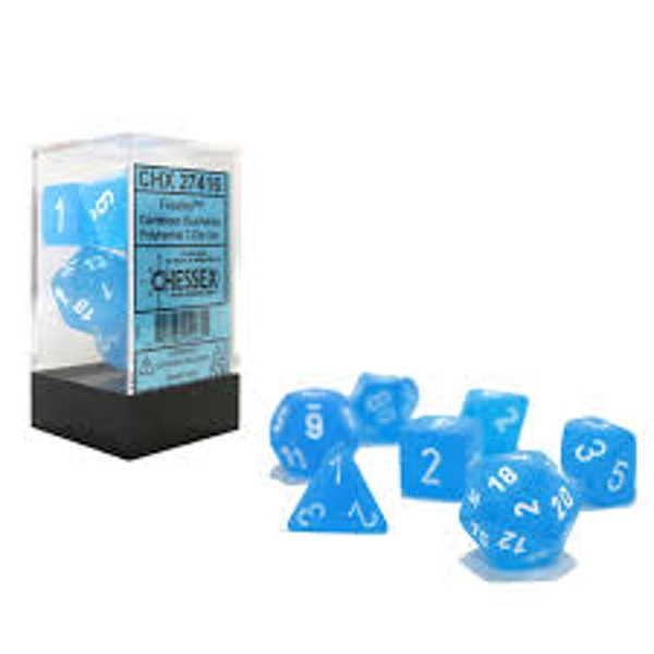 Chessex Poly 7 Dice Set: Frosted Caribbean Blue with White
