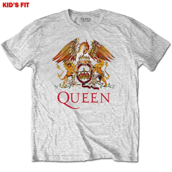 Queen - Classic Crest Kids 5 - 6 Years T-Shirt - Grey