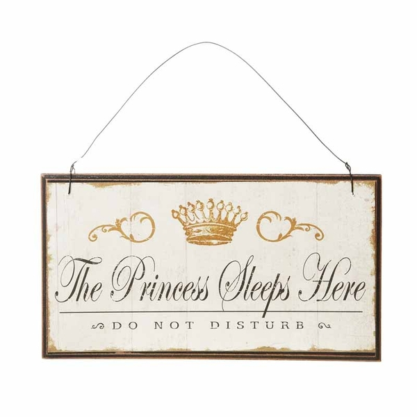 Vintage Princess Sleeps Here Small Sign by Heaven Sends