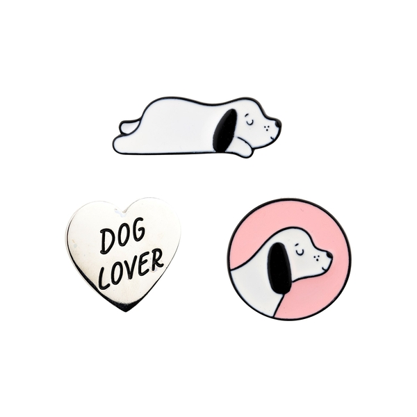 Sass & Belle (Set of 3) Barney The Dog Pin Badges