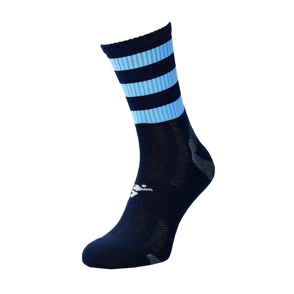 Precision Pro Hooped GAA Mid Socks Navy/Sky - UK Size 7-11