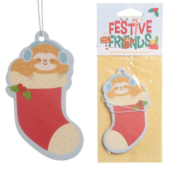 Spiced Orange Festive Friends Christmas Sloth (Pack Of 6) Air Freshener