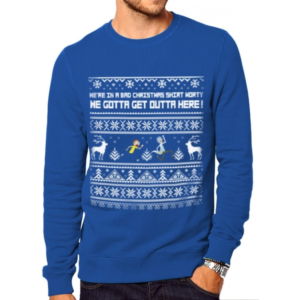 Rick And Morty - Bad Christmas Men's X-Large Jumper - Blue