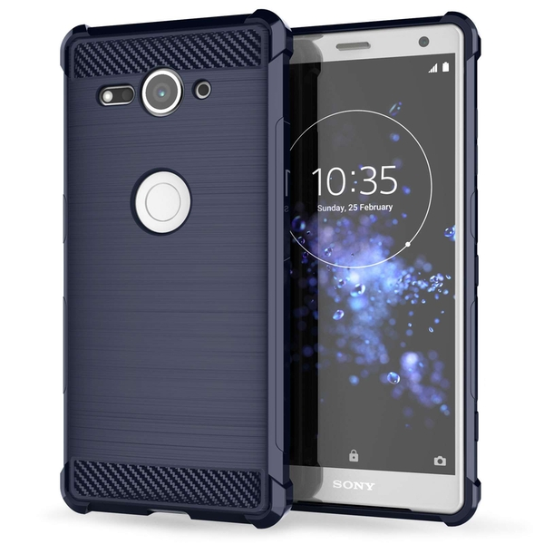 Sony Xperia XZ2 Compact Carbon Anti Fall TPU Case - Blue - Image 1