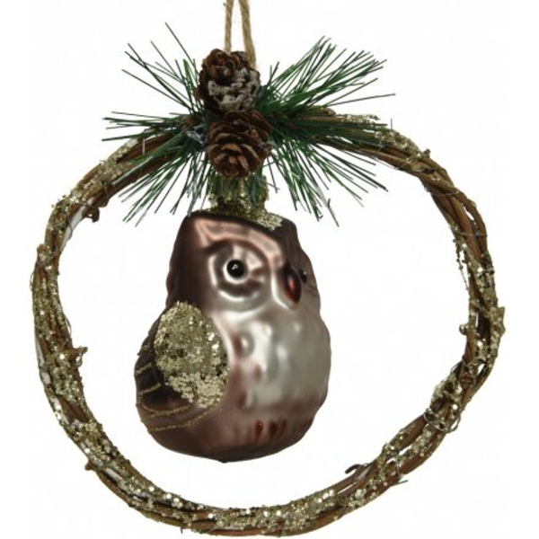 Twig Wreath With Glass Owl Hanger 13cm
