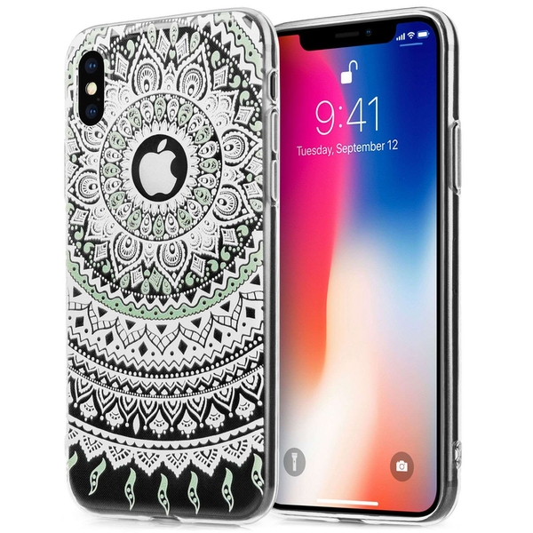 Compare prices with Phone Retailers Comaprison to buy a Apple iPhone X Mandala Printed Gel - Mint Green/White