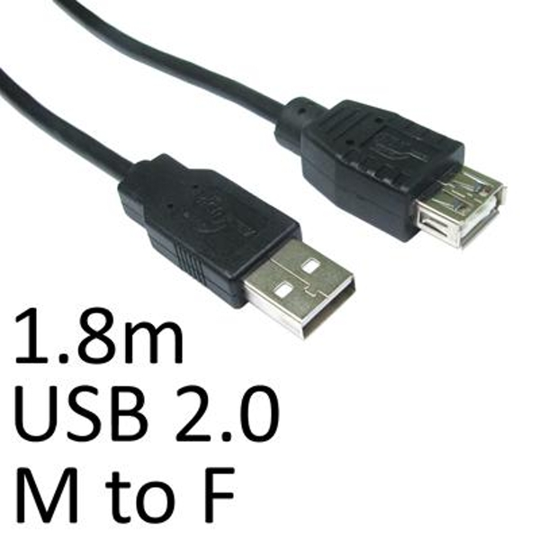 Image of USB 2.0 A (M) to USB 2.0 A (F) 1.8m Black OEM Extension Data Cable