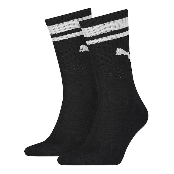 Puma Crew Heritage Stripe Sock Black/White UK Size 2.5-5 (2 Pair)