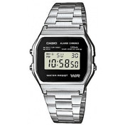 Casio A158WEA-1 Men's Digital Watch Silver with Black Face