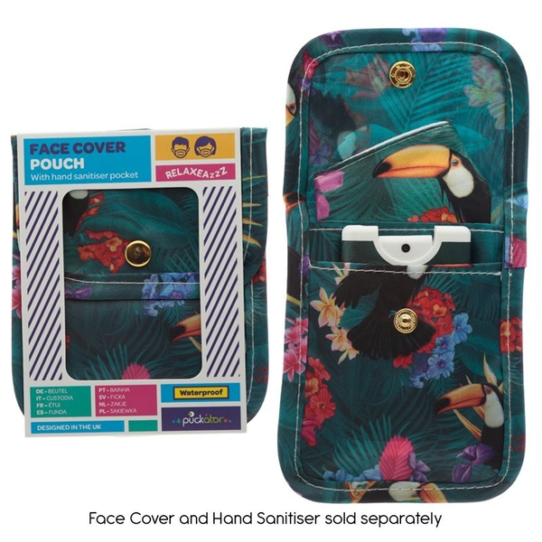 Toucan Party Face Covering & Hand Sanitiser Pouch