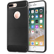 Apple iPhone 8 Plus Carbon Fibre Textured Gel Cover - Black