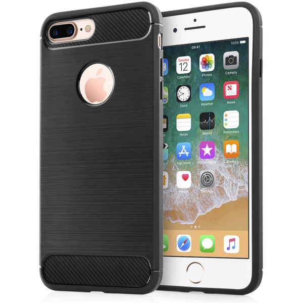 Compare prices with Phone Retailers Comaprison to buy a Apple iPhone 8 Plus Carbon Fibre Textured Gel Cover - Black