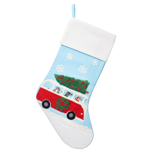 Sass & Belle Dogs in Camper Van Embroidered Stocking