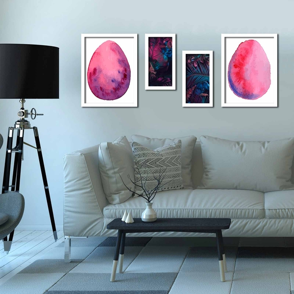 4P3040BCT013 Multicolor Decorative Framed MDF Painting (4 Pieces)