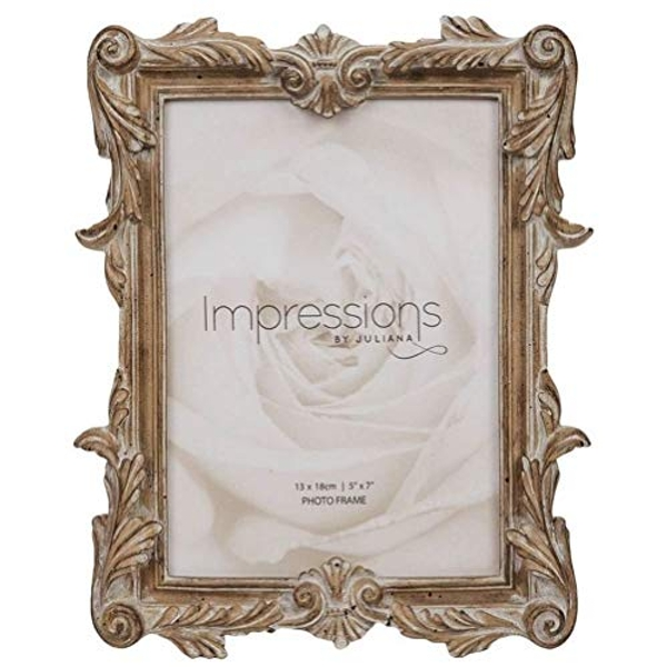"""5"""" x 7"""" - Impressions Antique Carved Wood Finish Photo Frame"""