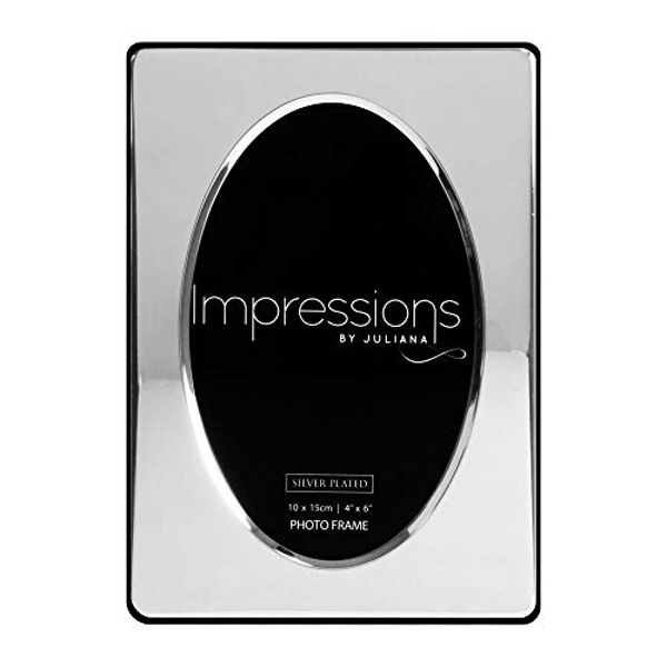 """4"""" x 6"""" - Silver Plated Oval Aperture Photo Frame"""