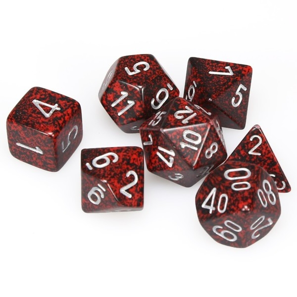 Chessex Speckled Poly 7 Dice Set : Silver V