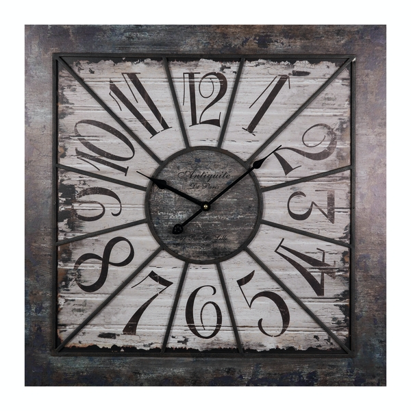 HOMETIME Square Industrial Wood and Metal Wall Clock 70cm