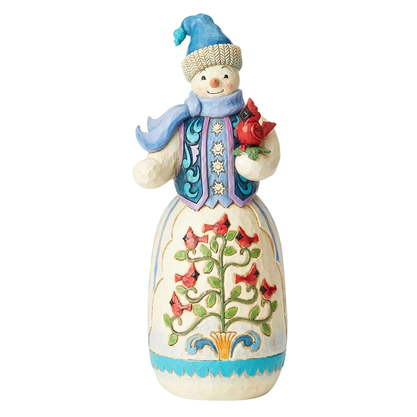 Snowman with Cardinals Figurine