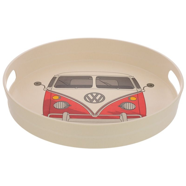 Volkswagen VW T1 Camper Bus Red Bamboo Composite Round Tray