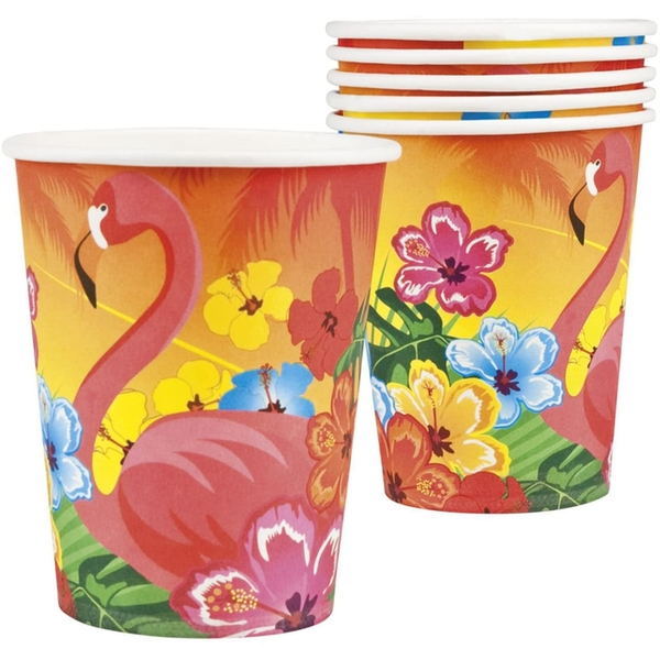 Hawaii Flamingo Paper Cups (Pack Of 6)