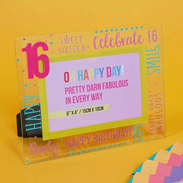 "6"" x 4"" - Oh Happy Day! Glass Photo Frame - Pink 16"