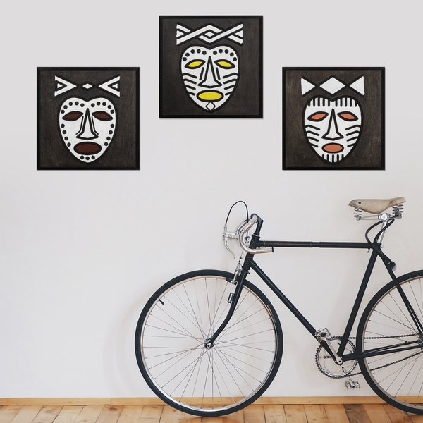 Africano Time Black White Decorative Wooden Wall Accessory