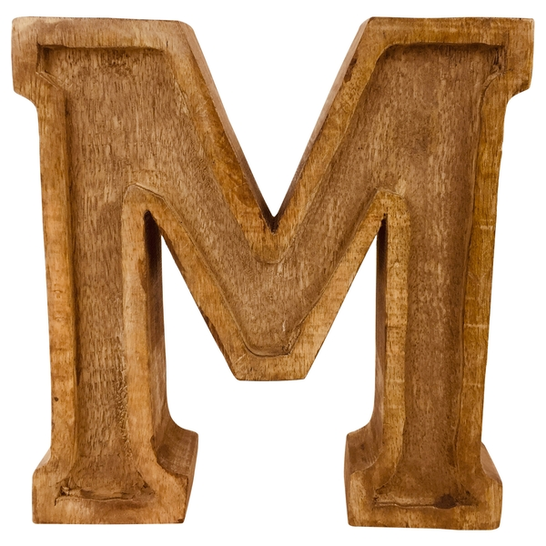 Letter M Hand Carved Wooden Embossed