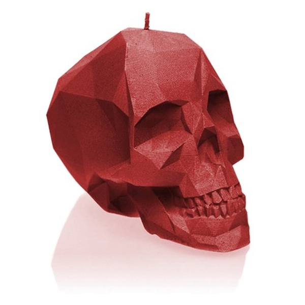 Red Small Low Poly Skull Candle