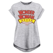 Wonder Woman - Stacked Logo Women's XX-Large T-Shirt - Grey