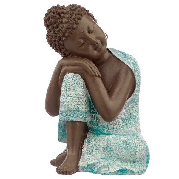 Thai Buddha, Brown, White and Turquoise - Contemplation