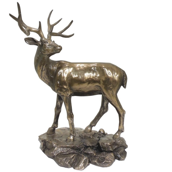 Standing Stag Cold Cast Bronze Sculpture 28cm