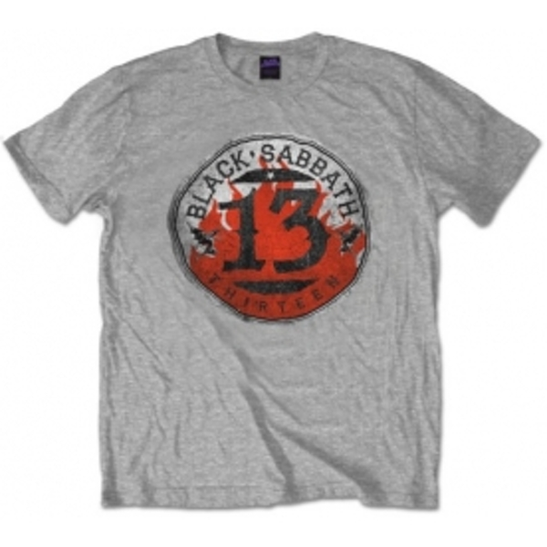 Black Sabbath 13 Flame Circle Grey T Shirt: Small