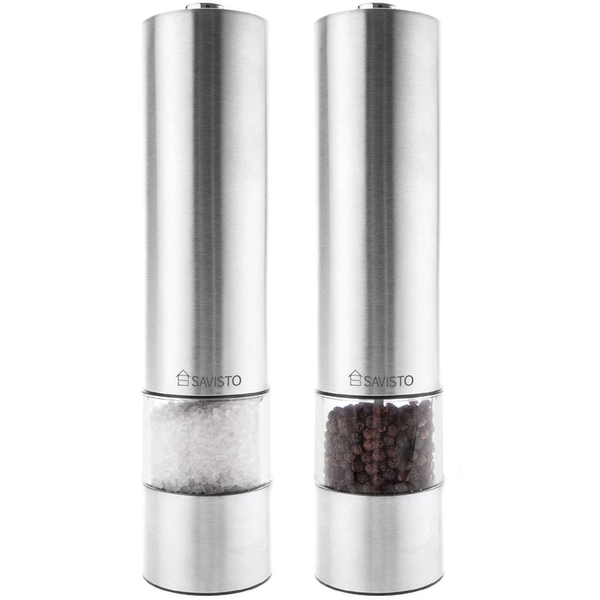 Savisto Electronic Illuminated Salt & Pepper Mill Grinders in Silver - Image 1