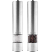 Savisto Electronic Illuminated Salt & Pepper Mill Grinders in Silver