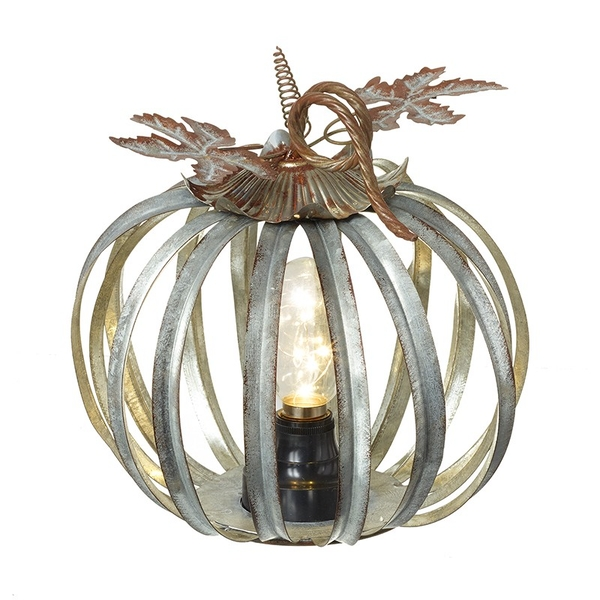Metal Pumkin Lantern With Light Up Bulb by Heaven Sends