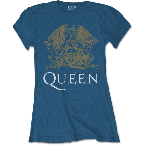 Queen - Crest Women's Small T-Shirt - Indigo Blue