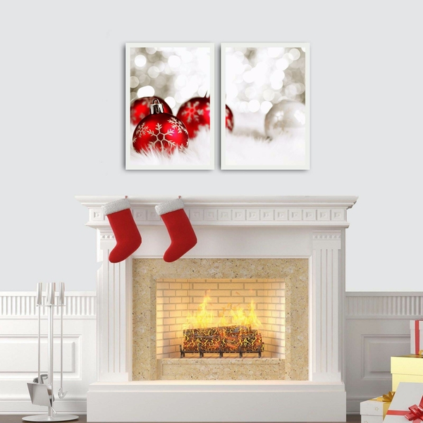 2PBCTNOEL-05 Multicolor Decorative Framed MDF Painting (2 Pieces)